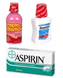 Kaopectate, Pepto-Bismol and Aspirin